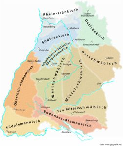 Übersichtskarte der in Baden-Württemberg gesprochenen Dialekte.