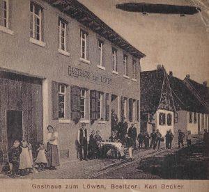 Hirschstr. Nr. 1 Ansichtskarte Gasthaus zum Löwen, um 1930