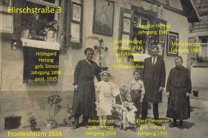 Hirschstr. Nr. 3 Fronleichnam 1934 mit Namen