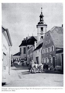 Werbetafeln mit alter Ansicht: Kuhfuhrwerk in Ubstadt um 1953